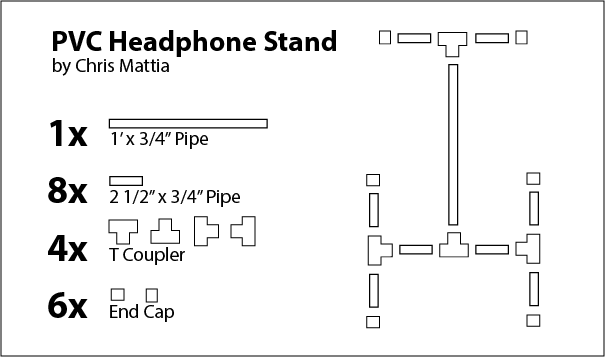PVC headphone stand layout diagram