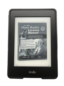 ARRL Ham Radio License Manual loaded on a Kindle Paperwhite