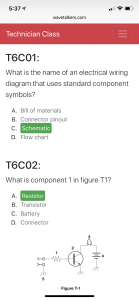 Multiple choice questions for the Technician exam are shown with the correct answers highlighted in green.